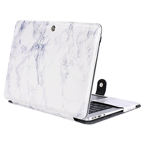 MOSISO PU Leather Case Only Compatible MacBook Air 11 Inch A1370 / A1465, Premium Quality Book Folio Protective Stand Cover Sleeve, White Marble