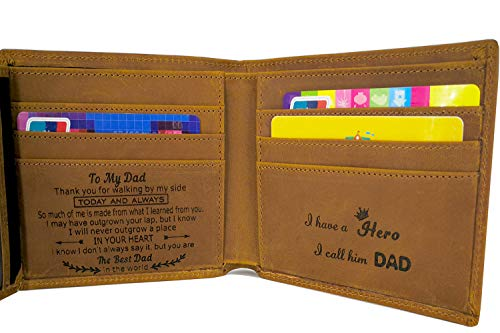 Engraved Wallet for Men Custom Personalized Gifts to Dad Husband Boyfriend Son (Tri-fold wallet to my dad)