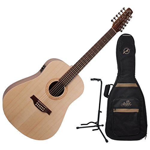 Seagull Excursion Walnut 12-String Acoustic Electric Guitar w/ Gig Bag and Guitar Stand