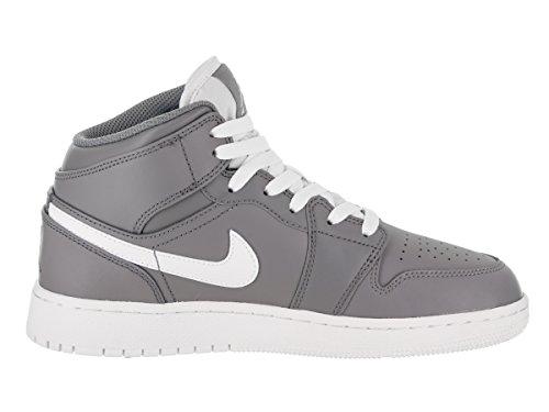 Nike Jordan Youth Air Jordan 1 Mid Leather Trainers Cool Grey/White-white