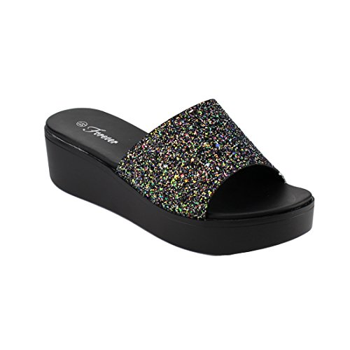 FOREVER FQ46 Women's Glitter Wide Band Wedge Heel Slide Sandals, Color Multi, Size:10 Glitter Wedge Sandals