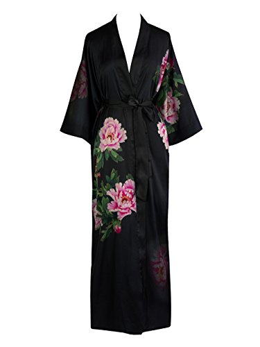 Old Shanghai Women's Kimono Robe Long - Watercolor Floral, Peony & Bird- Black ()
