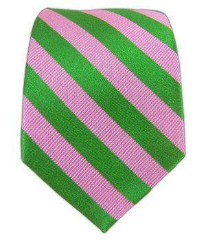Twill Striped Tie - The Tie Bar 100% Silk Pink and Kelly Green Twill Striped 2.5 Inch Tie