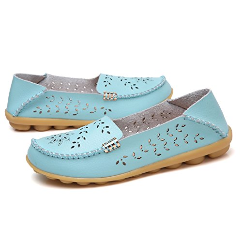 LINGTOM Womens Casual Leather Loafers Flat Driving Slip-On Shoes Sky Blue XBYY9