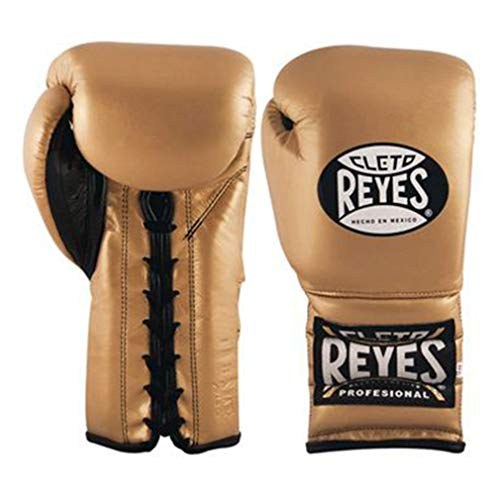 - Cleto Reyes Boxing Training Gloves With laces and attached thumb - Solid Gold - 16-Ounce