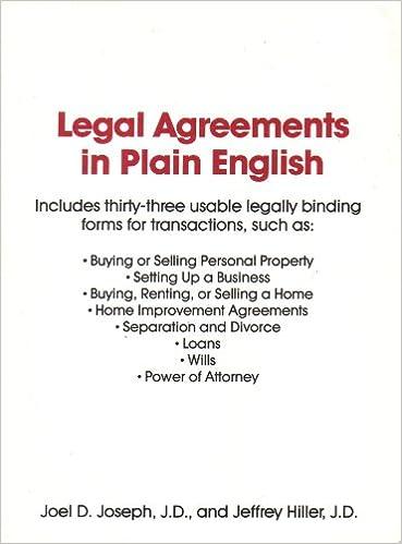 Legal Agreements In Plain English Joel D Joseph Jeffrey Hiller