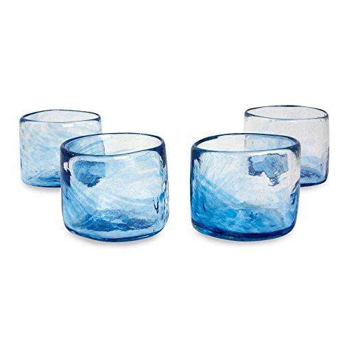 NOVICA Hand Blown Blue Glass Low Ball Glasses, 5 oz. 'Azure Mist' (set of 4)