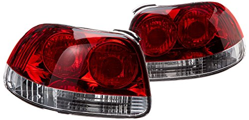 Spec-D Tuning LT-DEL93RPW-APC Honda Del Sol 2Dr Coupe Red Clear Lens Rear Tail Brake Lights (Coupe 2dr Brake)