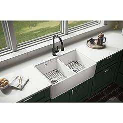 Farmhouse Kitchen Elkay SWUF32189WHC Fireclay Equal Double Bowl Farmhouse Sink Kit, White farmhouse kitchen sinks