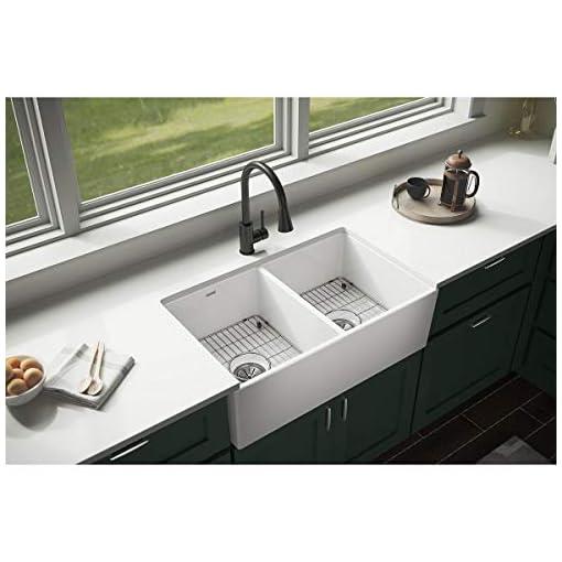 Farmhouse Kitchen Elkay SWUF32189WHC Fireclay Equal Double Bowl Farmhouse Sink Kit, 33″, White farmhouse kitchen sinks