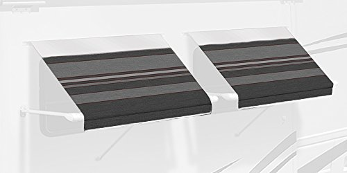 - Carefree IE0557A00 SL Premium Charcoal 5.5' Long RV Camper Complete Window Awning with White Arms (Charcoal Stripe with White Wrap and Red Tenera Thread)