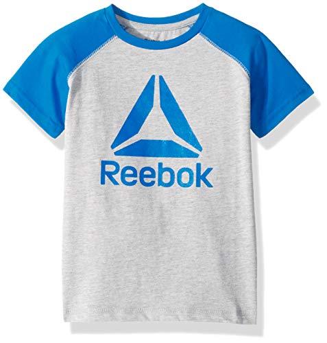 Reebok Boys Big Logo Color Block T-Shirt, Electric Blue, 10/12 (Electric Kids T-shirt)