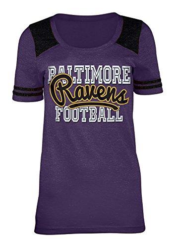 - A-Team Apparel NFL Baltimore Ravens Women's Tri-Blend Jersey Scoop Neck Tee, Large, Purple
