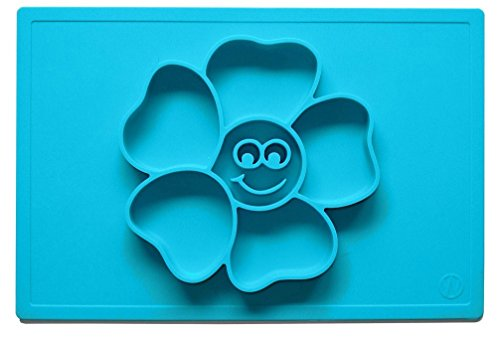 One-Piece Silicone Happy Flower Placemat Bowls Plate and Tray for Baby and Kids Super Suction Non Slip Fun Design Cool Colors
