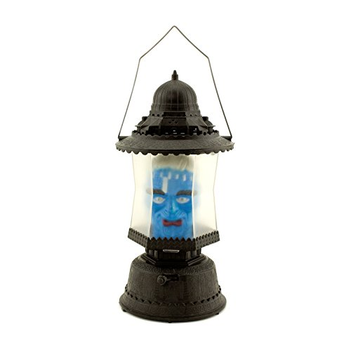 Adorox LED Skull Lantern Flashing Music Sounds Light up Scary Blue Monster Candle Horror Party Prop Decoration Lamp