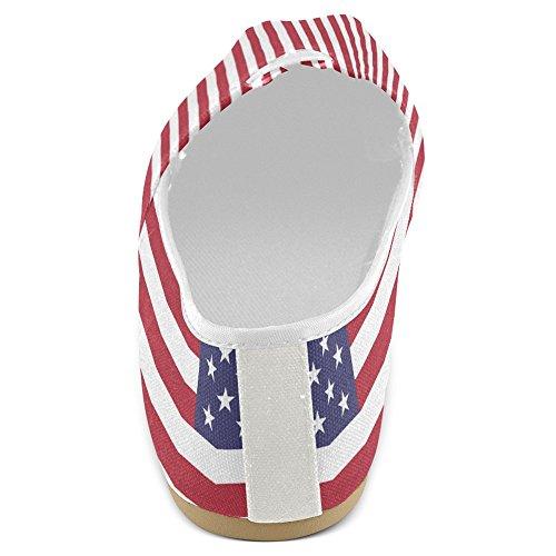 InterestPrint Frauen Loafers Klassische beiläufige Segeltuch-Beleg-auf Art- und Weise beschuht Turnschuhe-Ebenen Usa Flagge