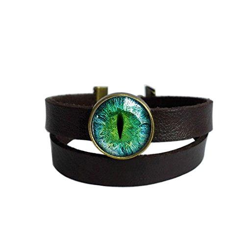 EyeKeychain Round Pendant Leather Bracelets Glass Cabochon Key Rings Stainless Steel Metal Handmade Charm Bangle Bracelet ()