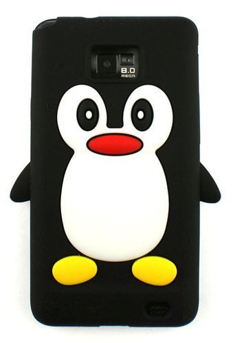 - Tinkerbell Trinkets® Samsung Galaxy S2 SII i9100 BLACK Penguin Cute Animal Silicone / Skin / Case / Cover / Shell / Protector / Cellphone / Phone / Smartphone / Accessories.