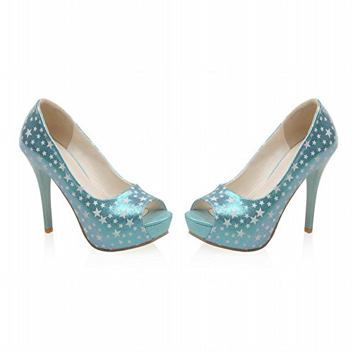 Carolbar Womens Peep-toe Chic Platform Star-shaped Pattern Party High Stiletto Heel Dress Shoes Blue kMxvI