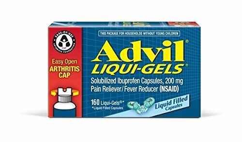 - Advil Liqui-Gels (160 Count) Easy Open Arthritis Cap Pain Reliever/Fever Reducer Liquid Filled Capsule, 200mg Ibuprofen, Temporary Pain Relief
