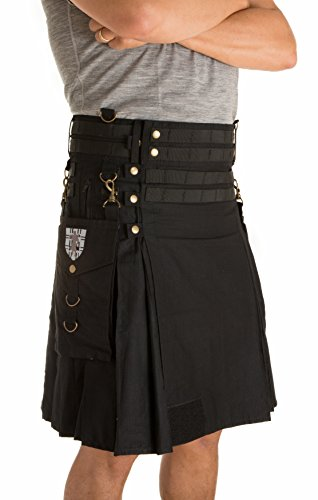 Damn Near Kilt 'Em Men's Tactical Kilt Small Black by Damn Near Kilt 'Em