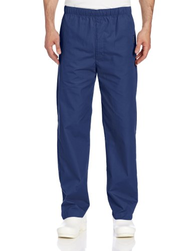 (Landau Men's Durable and Comfortable Elastic Waist Drawstring Scrub Pant, Navy, Large Short)