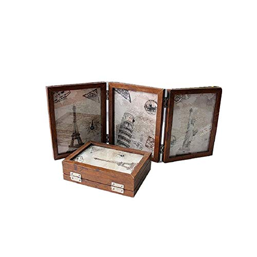 Leoyoubei 6 Option 5x7 Folding Frame Triple Duplex Frame 6 Photos Show Silver Color Hinges Folding Photo Frame With Glass Front Brown