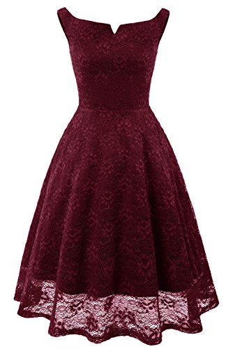 MILANO BRIDE Simple Cocktail Party Dresses Lace Sleeveless Prom Dress Short Length for Women