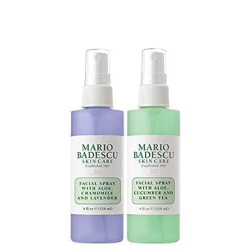 Mario Badescu Facial Spray with Lavender and Facial Spray with Cucumber Duo, 4 Fl Oz (Pack of 2) (Mario Badescu Facial Spray For Oily Skin)