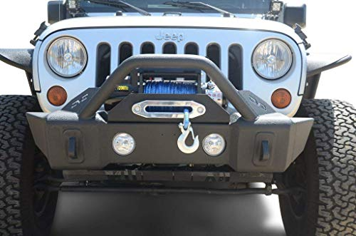 DV8 Jeep Wrangler Front Bumper Hammer Forged 4x4 Aftermarket Offroad Bumper w/ Accessories Fits 07-17 JK Model Includes Winch Plate, Fog Lights, and D-Rings Lightweight and Durable FBSHTB-13