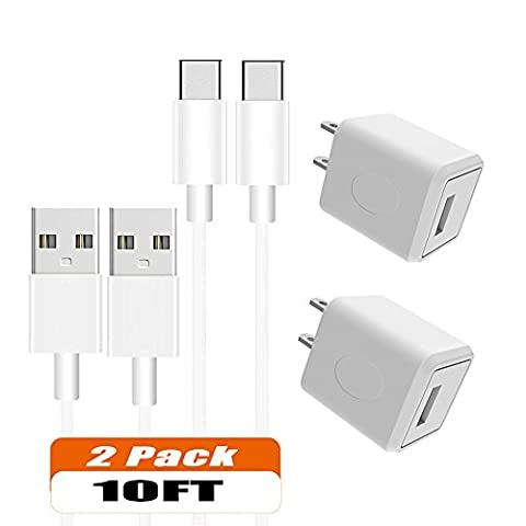 Wall Charger, Asstar 2 Pack Charging Adapter Travel Wall Chargers with 2 Pack 6ft Type C Data Charge Sync Cable for Samsung Galaxy Note 8,S8,S8 Plus, Google Pixel, Nexus 6P (5c Of Mice And Men Case)