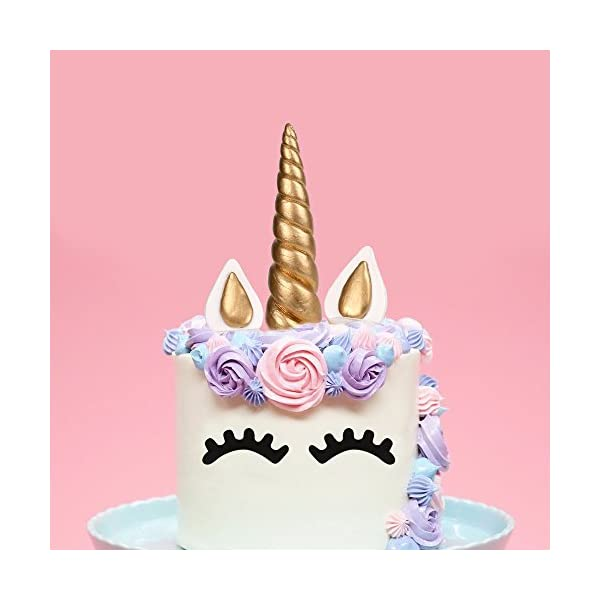 LUTER Cake Topper, Handmade Gold Unicorn Birthday Cake Topper, Reusable Unicorn Horn, Ears Eyelash Set, Unicorn Party… 9