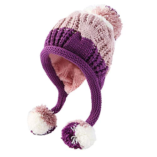 HUAMULAN Women Skull Winter Peruvian Beanie Hat Ski Cap Fleece Lined Ear Flaps Pompoms