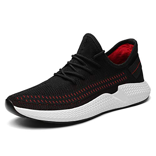 Kvovzo Mens Walking Athletic Shoes Comfort Casual Sneaker Trail Running Shoe for Men Tennis Baseball Racquetball Cycling(1078black/red43)