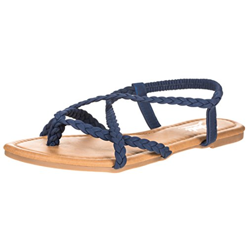 CLOVERLY Women's Braided Strap Thong Flip Flop Flat Sandals (11 B(M) US, -