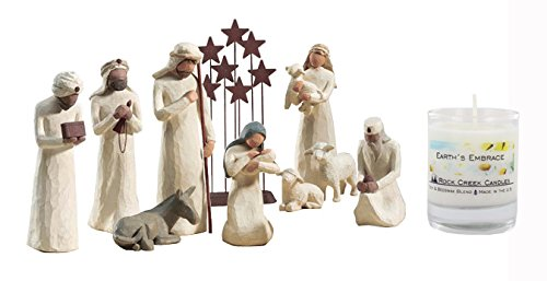 10 Piece Willow Tree Nativity with Rock Creek 20 Hour Soy (10 Piece Nativity Collection)