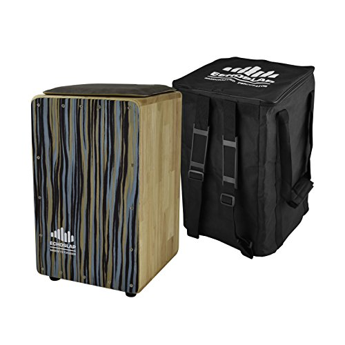 - Echoslap Angel Fall Solid Siam Oak Bass Cajon - Blue Frontplate, Cushioned Seat, Deep Bass Tones, 3 Snare Wires for Crisp Buzz + Free Gig Bag