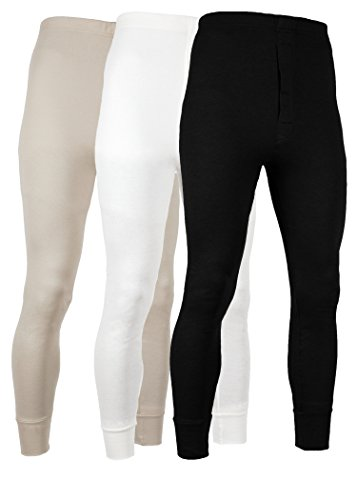 (AMERICAN ACTIVE Men's Long Johns Thermal Base Layer Pants 100% Cotton Fleece Lined Underwear -Pack of 3 (3 Pack- Black/Cream/Sand,)
