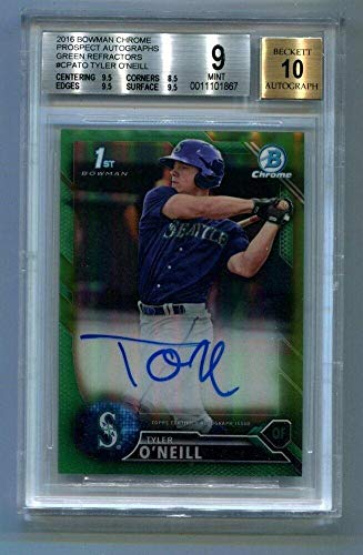 2016 Bowman Chrome Prospects Tyler O'Neill Green Auto Refractor Card /99 BGS 9 - Baseball Slabbed Autographed Cards (Auto Oneill)