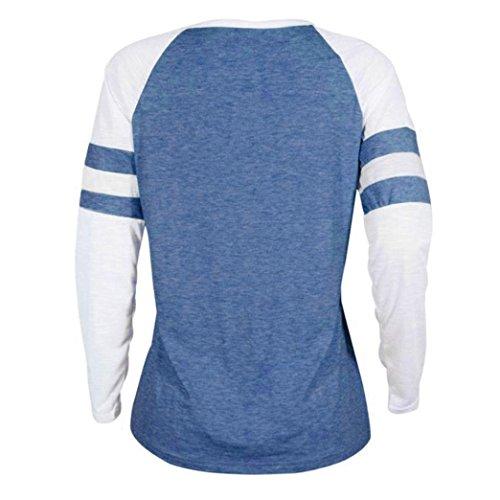 Blouse Femmes Plus T Tops D'Impression Manches bleu Dames Color Cou Patchwork Size Tops Slim Shirt B Blouse O Mode Pliss Rawdah Shirt Pure Thanksgiving Casual Longues AqvwXx0f