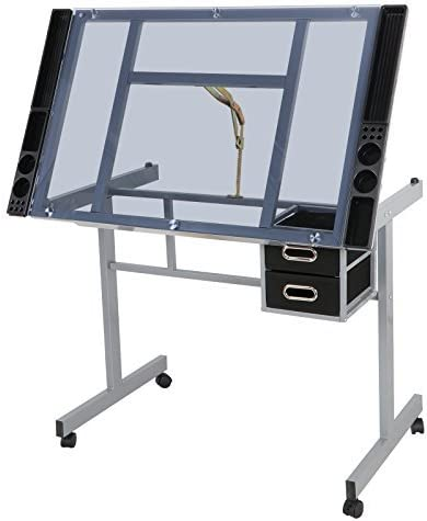 DlandHome Glass Drafting Table 41inch Adjustable Drawing Table Craft Station Center with 2 Storage Drawers DUS-CZKLD-028
