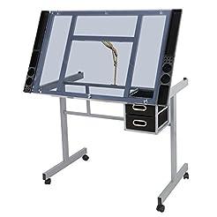 ZENY Glass Top Adjustable Drawing Desk C...