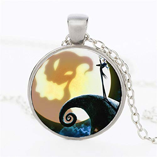 CHITOP The Nightmare Before Christmas- Jack Skellington Glass Dome Necklaces&Pendants Jewelry Gifts Children Statement Necklace 2017 (E)