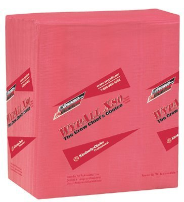 Wypall X80 Wipers, 1/4-Fold, Hydroknit, 12 1/2 X 13, Red, 50/Box, 4 Boxes/Carton