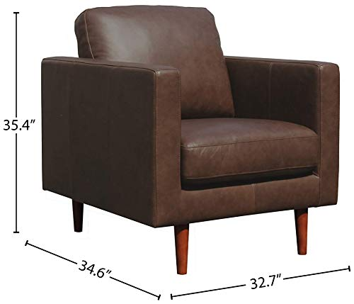 Living Room Amazon Brand – Rivet Revolve Modern Leather Armchair with Tapered Legs, 33″W, Chestnut modern accent chairs