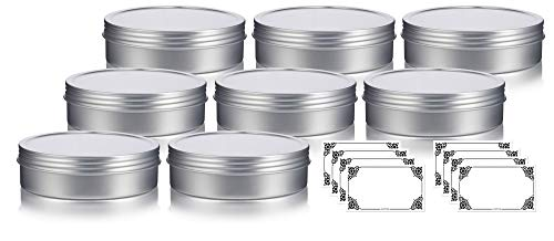 8 oz Metal Steel Tin Flat Container with Tight Sealed Twist Screwtop Cover (8 pack) + Labels