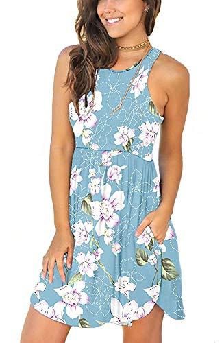 Blue Floral Sleeveless Dress - WNEEDU Women's Summer Floral Dresses Sleeveless Tunic T Shirt Swing Dresses Floral Light Blue XS