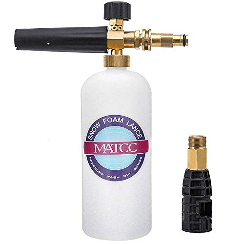 MATCC Foam Cannon for Sun Joe Adjustable Snow Foam Lance for Sun Joe SPX Series Pressure Washer Gun Jet Wash with Brass Quick Connector Foam Blaster 0.22 Gallon Bottle (Best Snow Foam Lance)