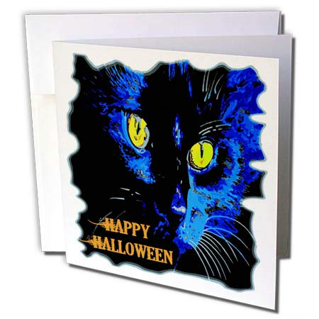 3dRose Taiche - Vector - Halloween Black Cat - Cute Happy Halloween Moonlight Black Cat Vector - 6 Greeting Cards with envelopes (gc_298257_1)
