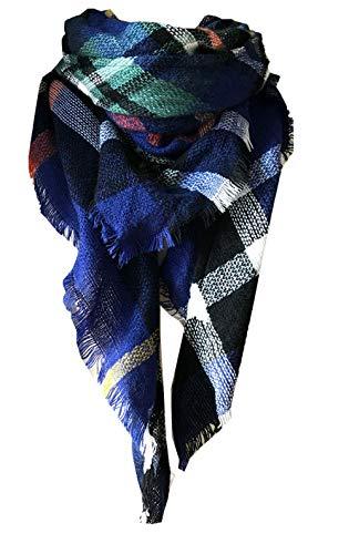 - Wander Agio Womens Warm Scarf Triangle Shawls Large Scarves Stripe Plaid Fichu Sapphire Blue 12